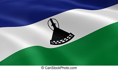 Mosotho flag in the wind