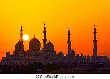 mosquée, à, coucher soleil