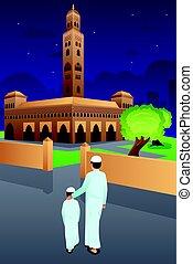 mosquée, aller, père, fils