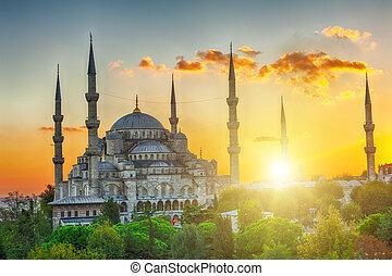 mosquée bleue, coucher soleil