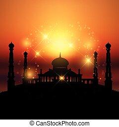 mosquée, coucher soleil