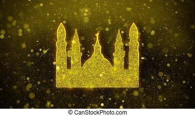 mosquée, doré, éclat, islamique, musulman, particles., icône, icône, religieux, scintillement