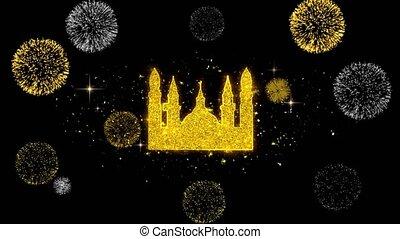 mosquée, firework., icône, doré, islamique, musulman, icône, particules, religieux, scintillement