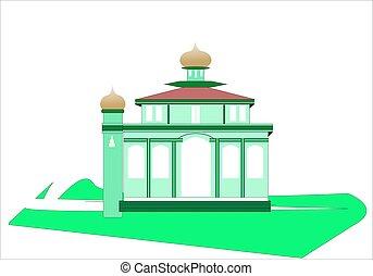 mosquée, fond blanc, vecteur, simple, illustration