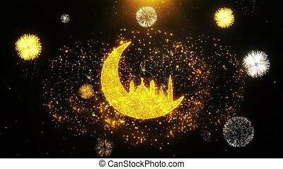 mosquée, islamique, explosion, exposer, ramadan, icône, particles., feud'artifice, lune