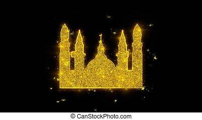 mosquée, noir, arrière-plan., islamique, musulman, icône, icône, religieux, étincelles, particules