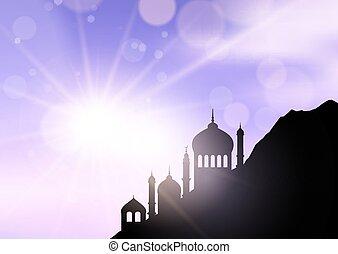 mosquées, 1603, ramadan, paysage, contre, ensoleillé, ciel
