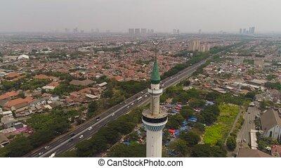 Mosque Al Akbar in Surabaya Indonesia. - aerial view...