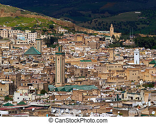 Mosque and old part of the medina of the city of Fez, Morocco.