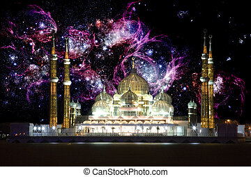 Mosque at Night with Galactic Background - Night image of...