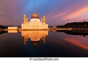 Reflection of Kota Kinabalu city mosque at Borneo, Sabah, Malaysia