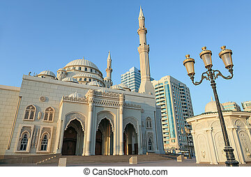 Mosque at sunrise in Sharjah, United Arab Emirates
