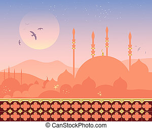 mosque at sunset - an illustration of a beautiful mosque...