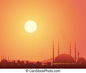 mosque at sunset - an illustration of a middle eastern...