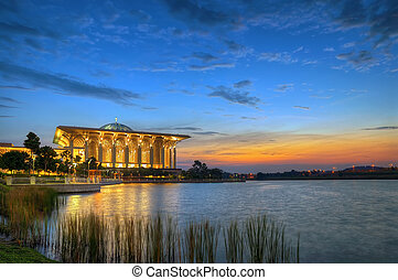 Mosque at sunset - Beautiful mosque by the lakeside in...