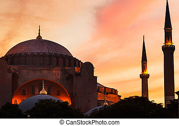 Mosque at Sunset - Sunset over The Hagia Sofia Mosque,...