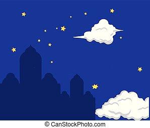 mosque castle silhouette at night ramadan kareem