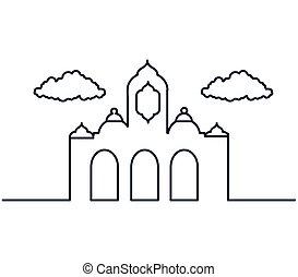 mosque castle silhouette ramadan kareem