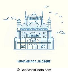 mosque de muhammad ali, azul, landmark., creativo, plano de...