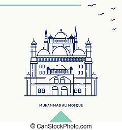 mosque de muhammad ali, contorno, vector, ilustración