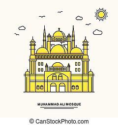 mosque de muhammad ali, monumento, cartel, template., viajar...