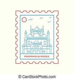 mosque de muhammad ali, sello, azul y rojo, línea, estilo,...