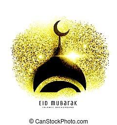 mosque design on golden glitter, eid mubarak greeting background