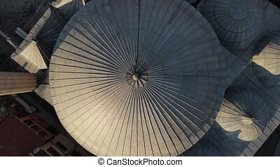 Aerial Drone Shot Overhead View Islamic Muslim Ottoman Mosque the Anatolian Historical Building. Afyon City of Turkey