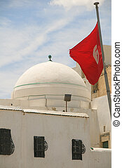 mosque dome Sousse Tunisia Africa with Tunisian national...