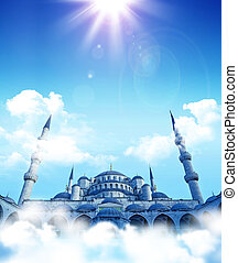 Mosque dreams - islamic fantasy. Blue mosque dreams. Cloud...