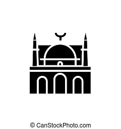 mosque facade - arabic temple church icon, vector illustration, black sign on isolated background