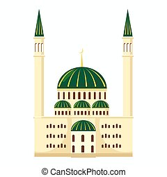 Mosque icon, cartoon style