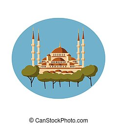 Mosque icon in cartoon style