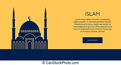 Mosque icon. Islam building banner - Mosque icon. Muslim...