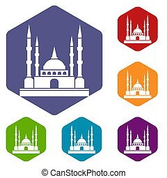 Mosque icons set hexagon