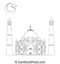 Mosque illustration, hand drawn, sketch