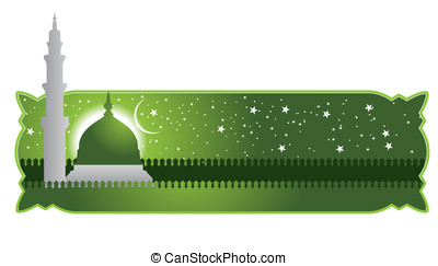 mosque - The green dome of the mosque. Vector of the mosque...