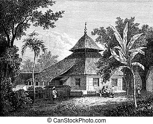 Mosque in Ambon, vintage engraving. - Mosque in Ambon, ...