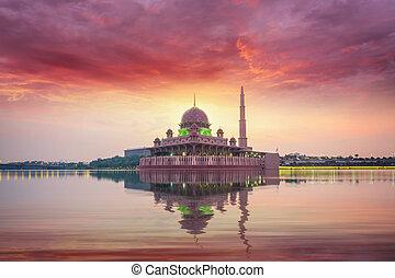 Mosque in Kuala lumpur city on morning sunrise