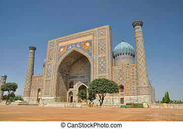 Mosque in Samarkand - Beautifully decorated mosque in...