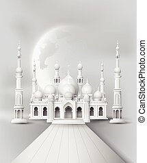 Mosque in the night moon