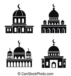 Mosque islam icons set, simple style