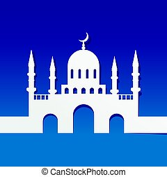 Mosque made by paper cut out on blue background