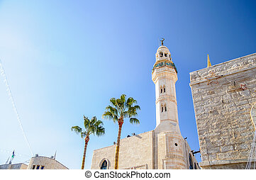 Mosque of Omar on the blue sky background, Bethlehem
