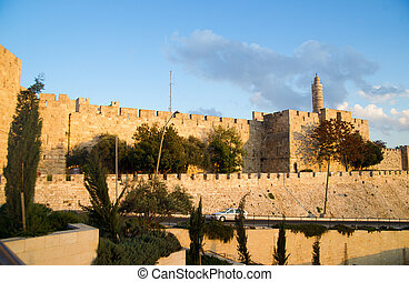 Mosque of Omar minaret in Jerusalem