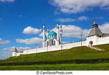Mosque on territory of Kremlin on a background blue sky , Kazan, Russia