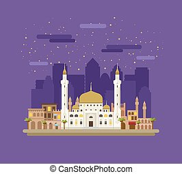 Mosque on the background of the city.