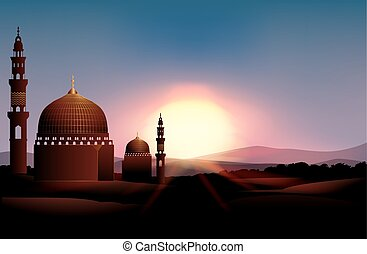 Mosque on the field at sunset