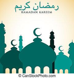 """Mosque """"Ramadan Kareem"""" (Generous Ramadan) card in vector format."""