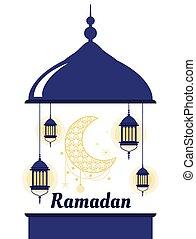 Mosque Ramadan Kareem greeting with lantern and moon